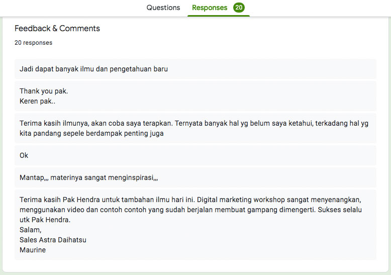 Feedback dari peserta training digital marketing sales daihatsu sanur bali